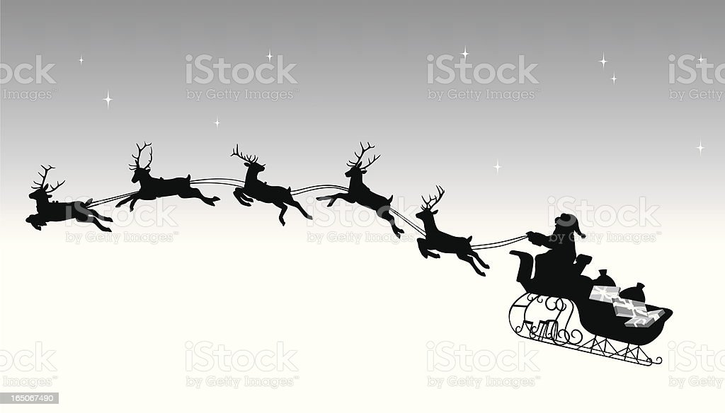 Night Before Christmas Vector Silhouette royalty-free stock vector art