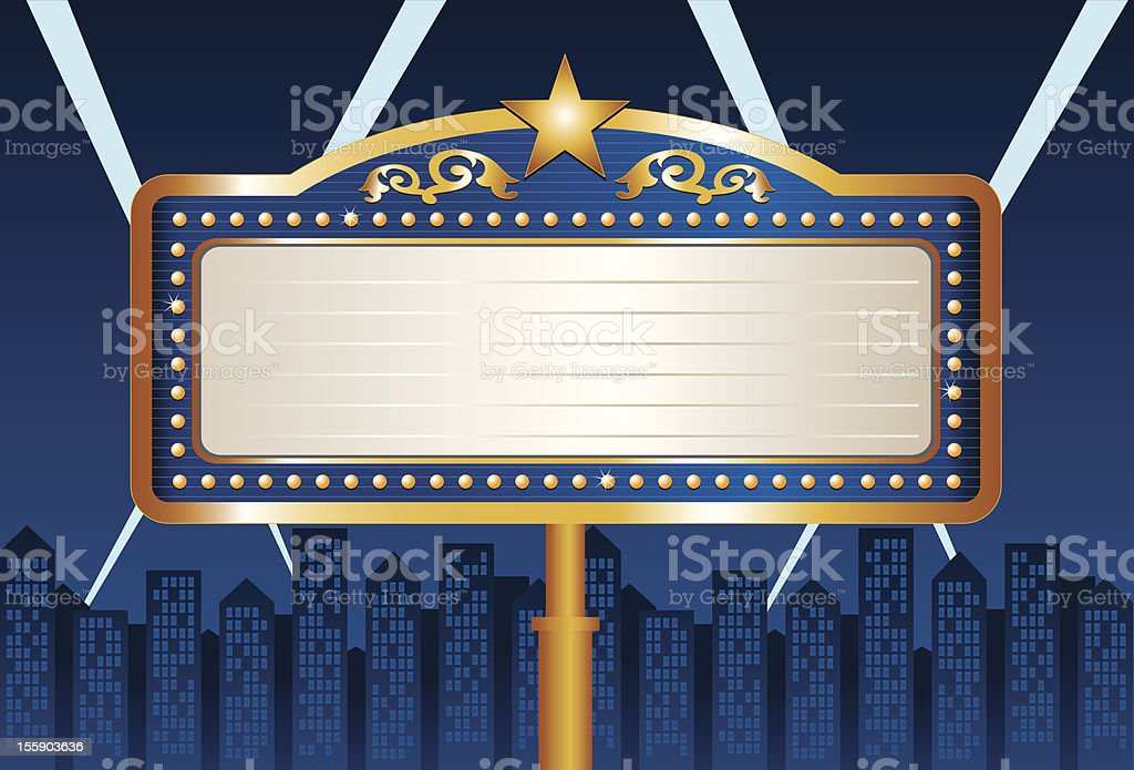 Night Blue City Marquee vector art illustration