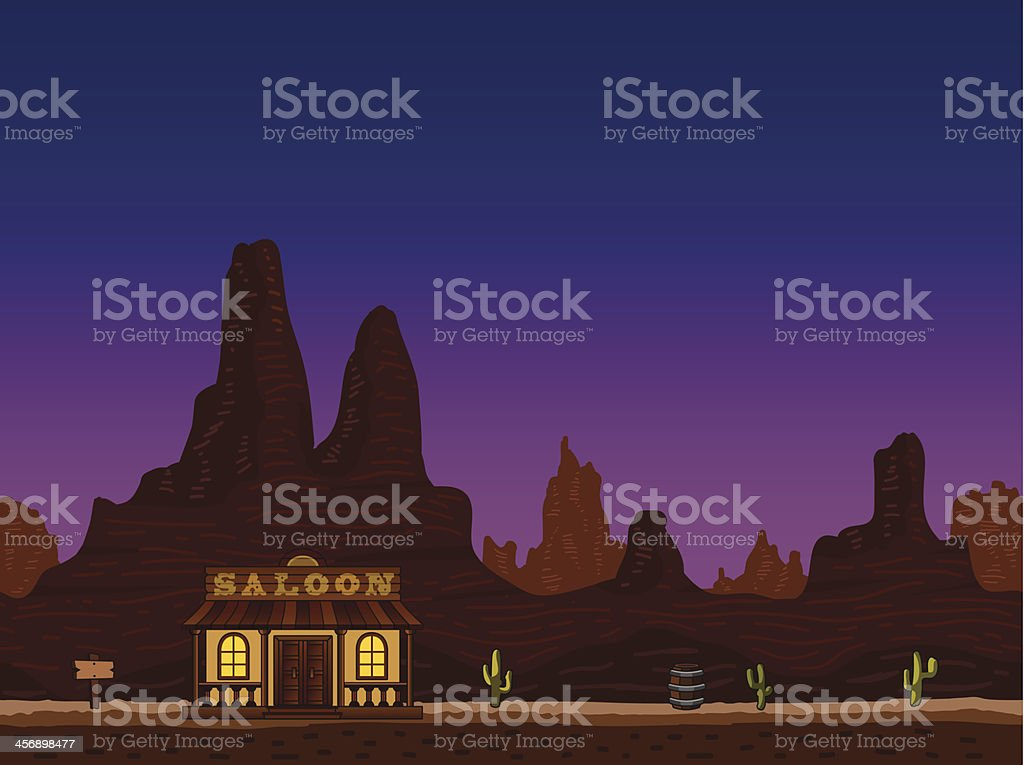 Night canyon with saloon vector art illustration