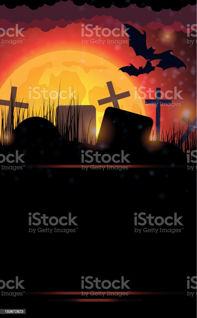 Night cemetery royalty-free stock vector art