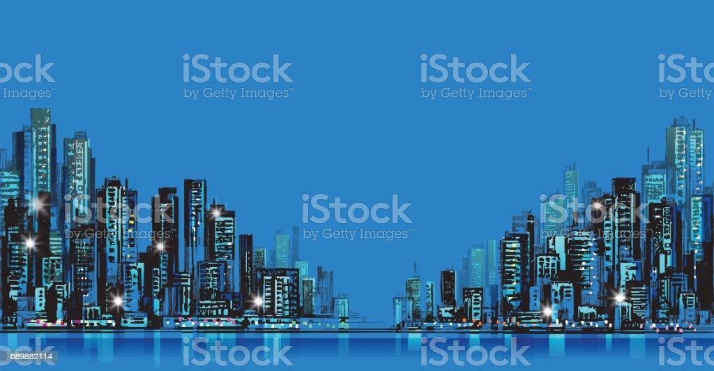Night city background. Hand drawn vector vector art illustration