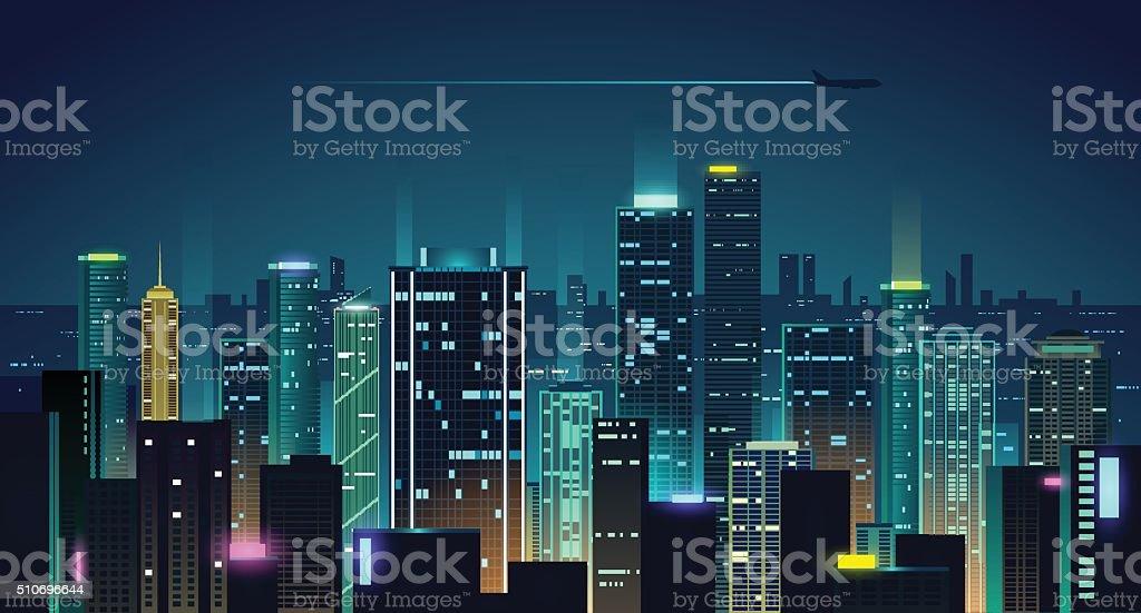 Night city illustration vector art illustration
