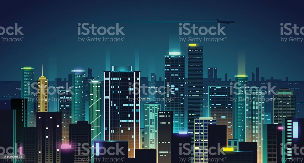 Night city illustration vector art illustration