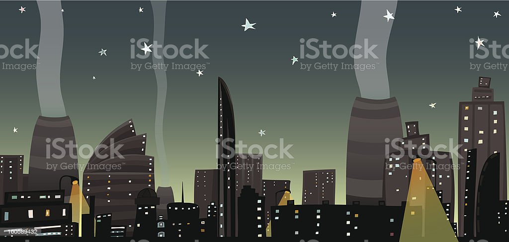 Night City Landscape Cartoon royalty-free stock vector art