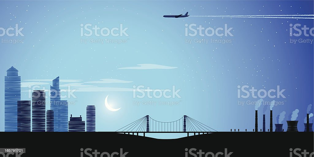 Night city lanscape vector art illustration