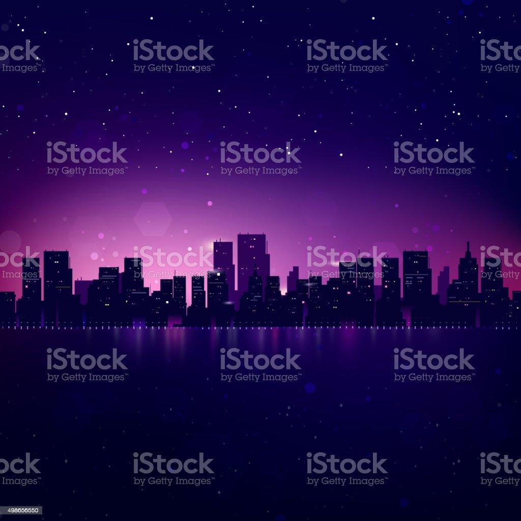Night City Skyline. Vector Cityscape Background vector art illustration