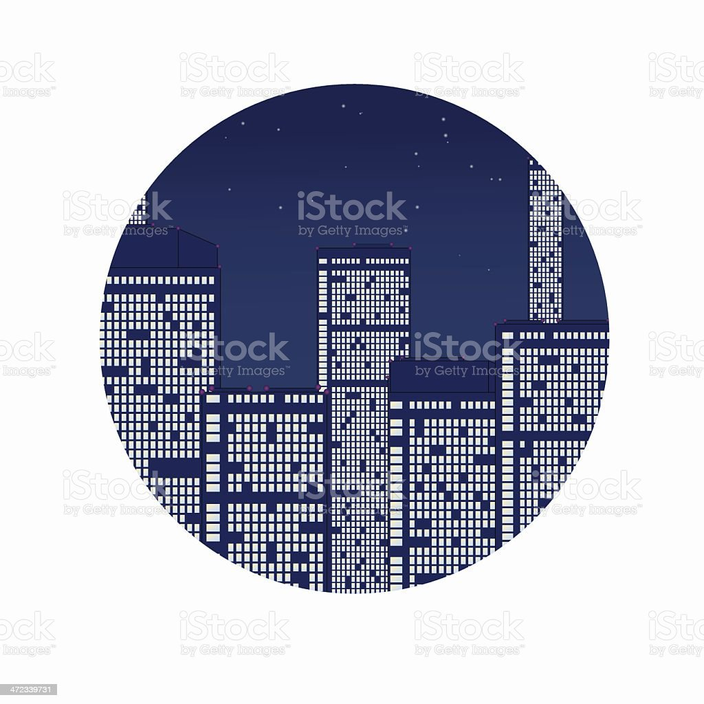 Night city under stars. royalty-free stock vector art