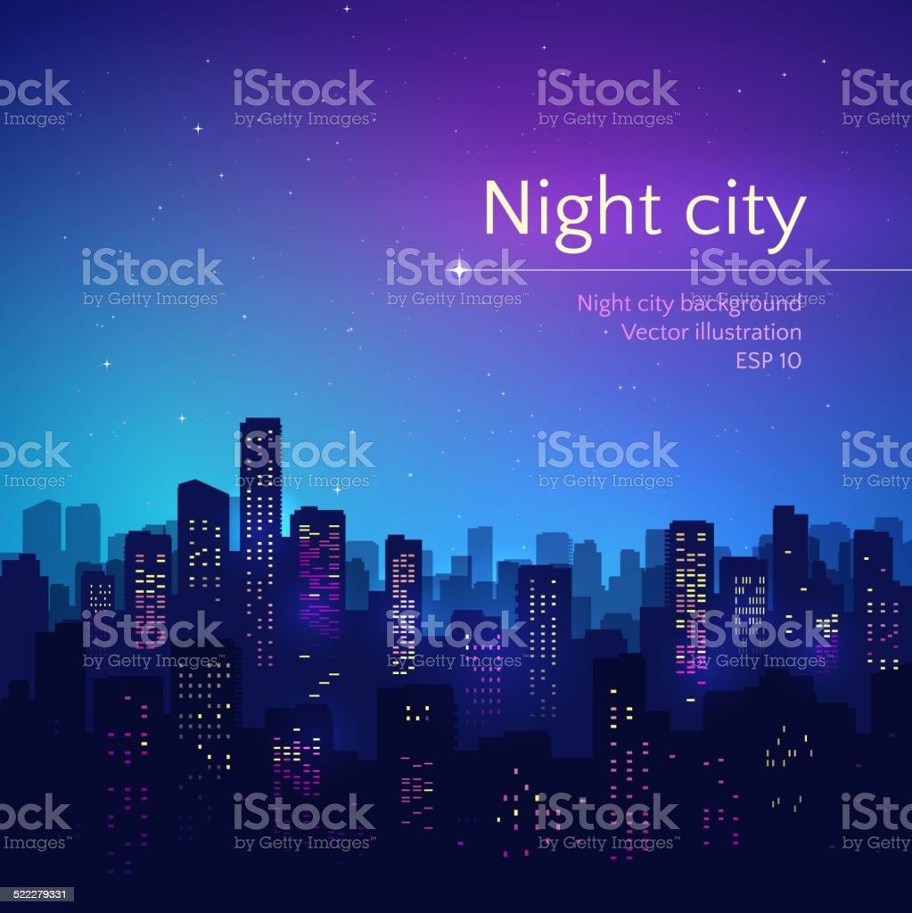 Night city. vector art illustration
