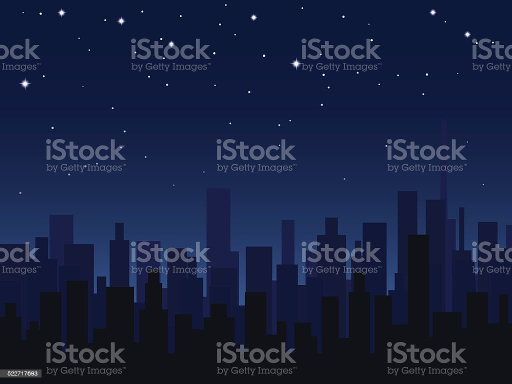 Night city vector art illustration
