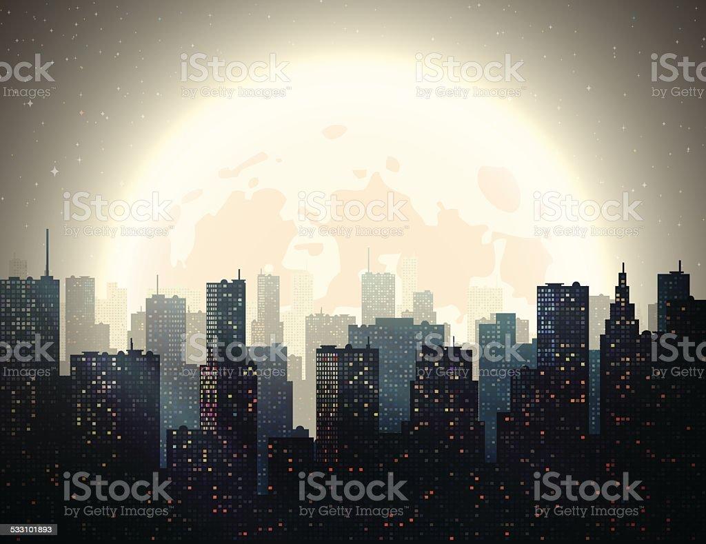 Night City vector art illustration