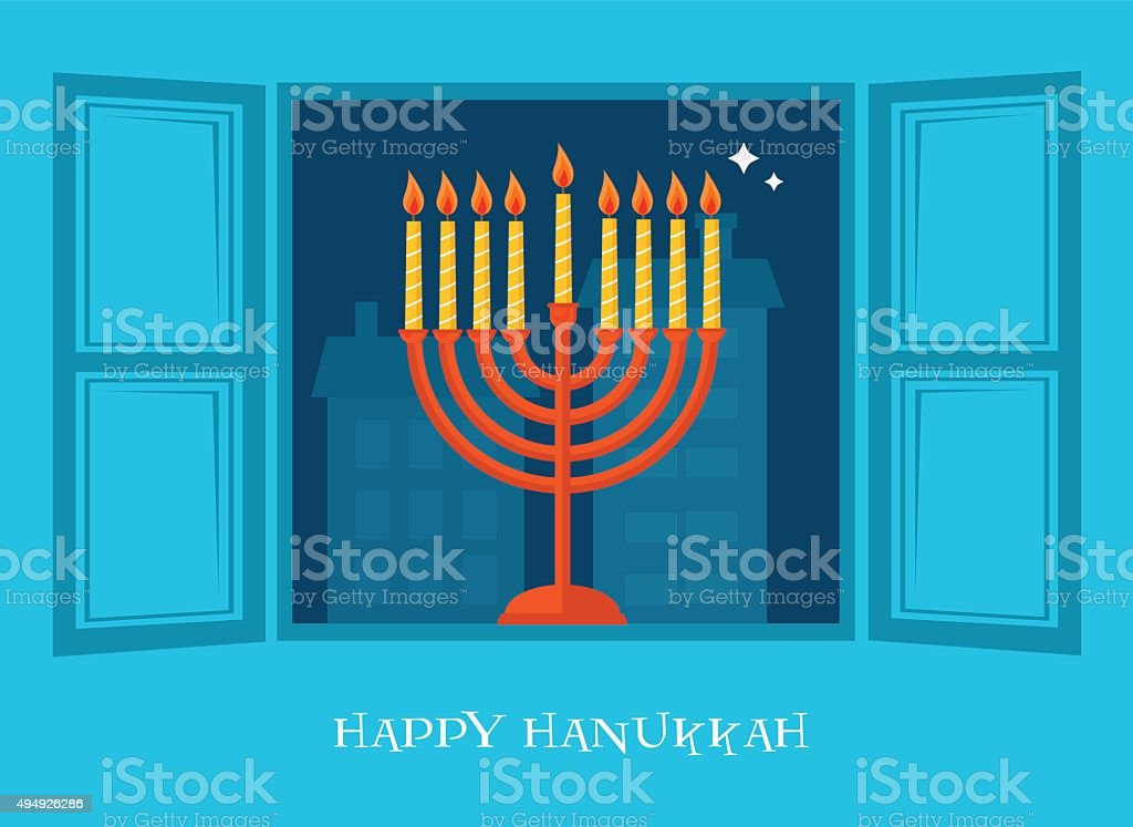 night city view of open window  with Hanukkah  menorah vector art illustration
