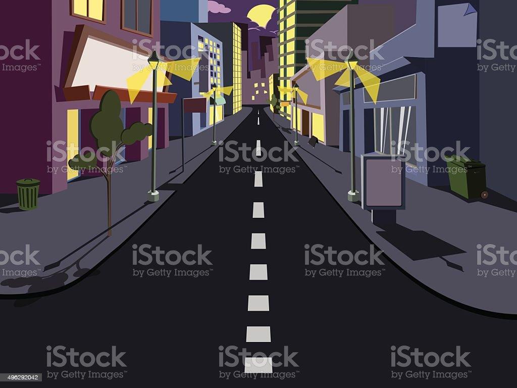 Night cityscape comics vector art illustration