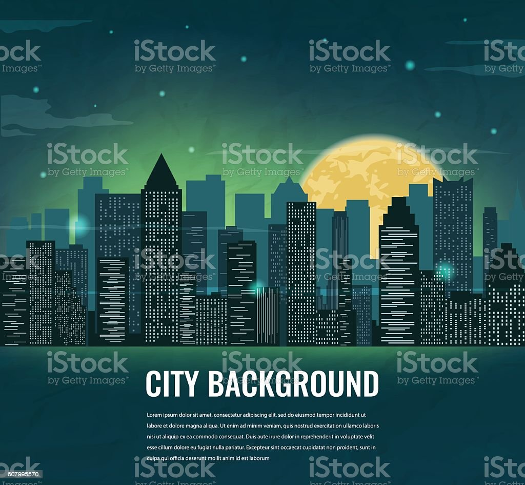 Night cityscape silhouettes with moon and space for text . royalty-free stock vector art
