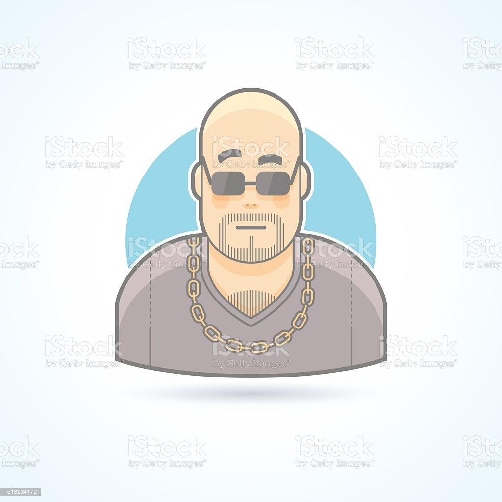 Night club bouncer, security chief, bodyguard icon. vector art illustration