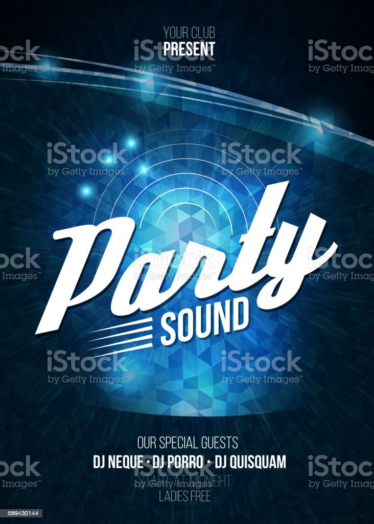Night Disco Party Poster Background Template - Vector Illustration vector art illustration