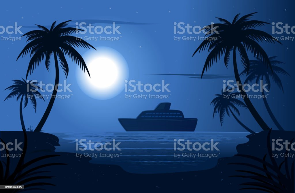 Night In A Blue Lagoon royalty-free stock vector art