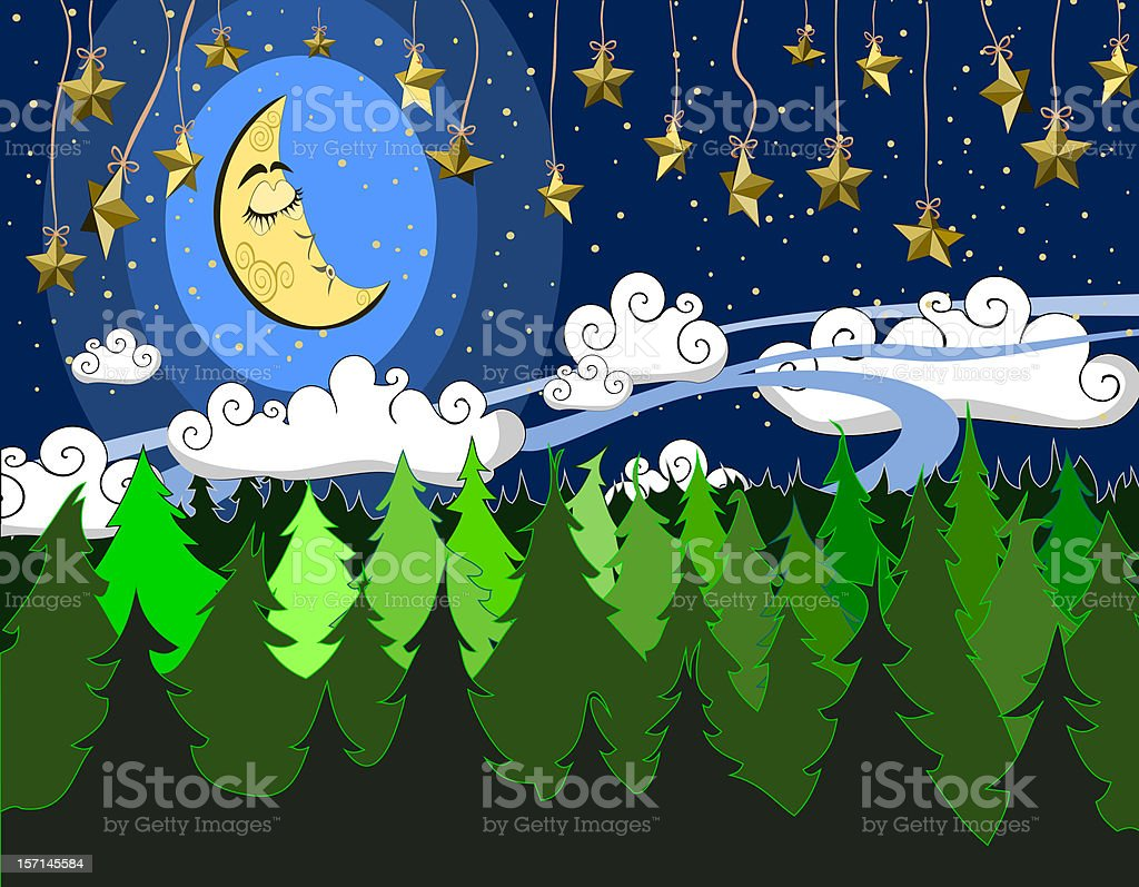 Night in the forest royalty-free stock vector art