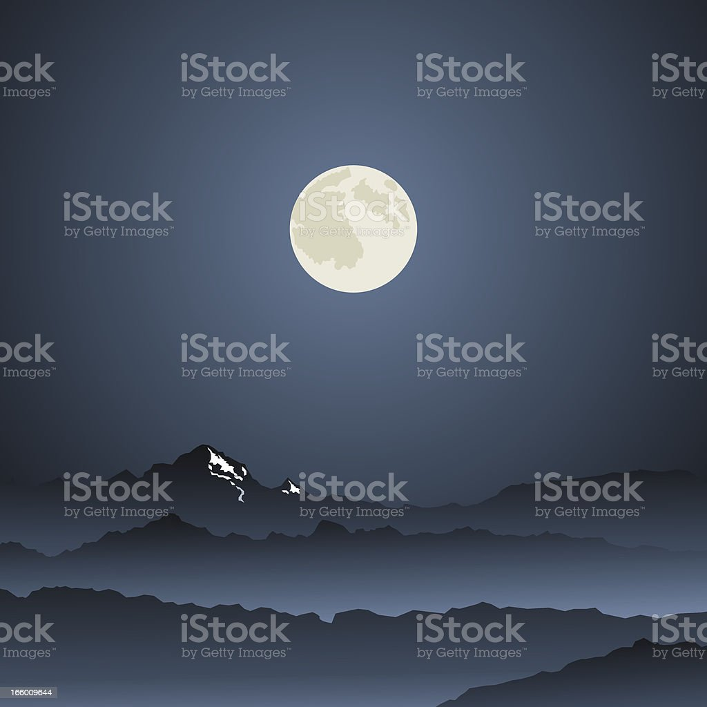 night in the mountains vector art illustration