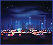 Night industrial landscape