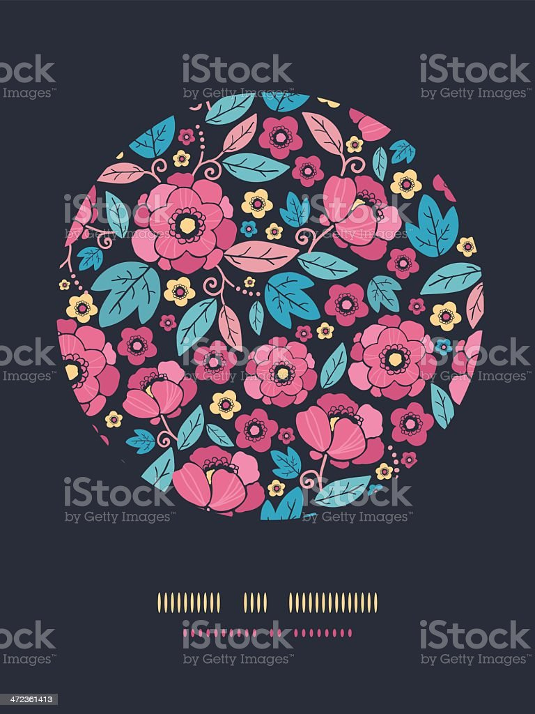 Night Kimono Blossom Circle Decor Pattern Background royalty-free stock vector art
