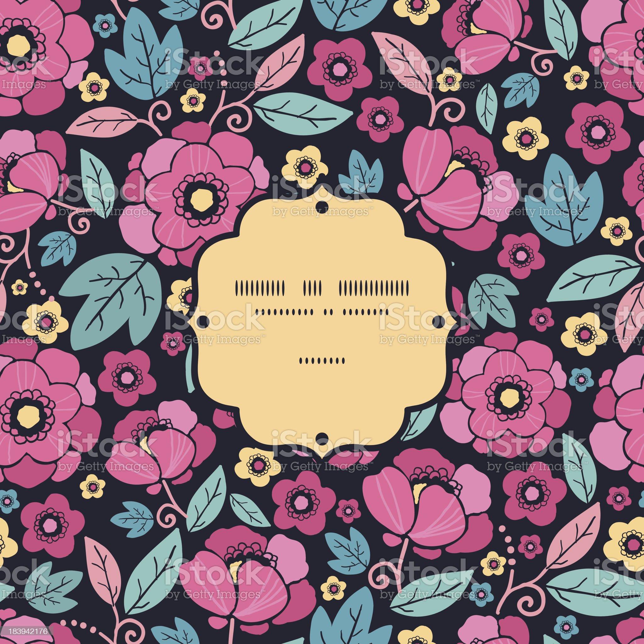 Night Kimono Blossom Frame Seamless Pattern Background royalty-free stock vector art