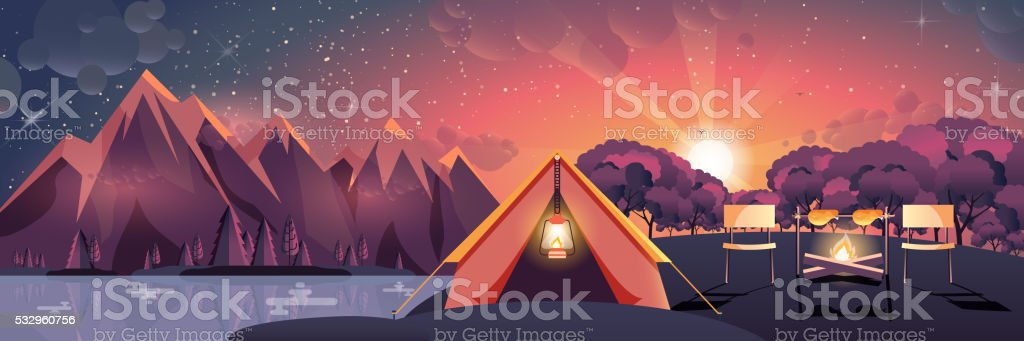 night landscape, mountains, sunset, travel, hiking, nature, tent, campfire, camping vector art illustration