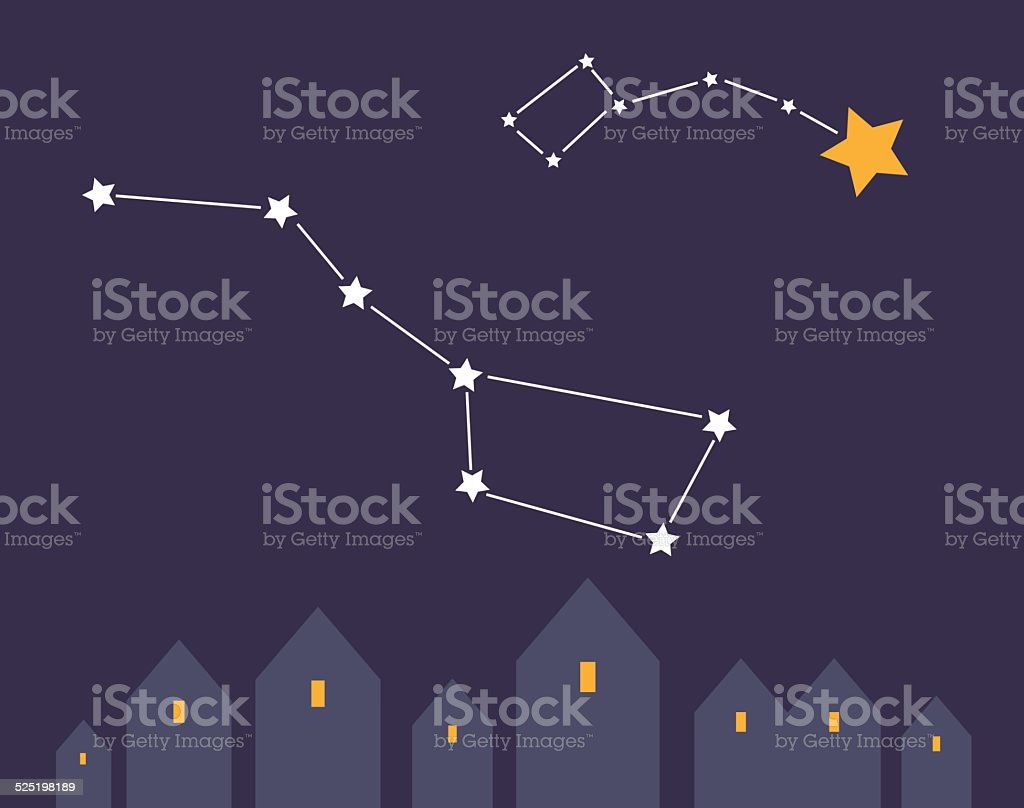 Night landscape vector art illustration