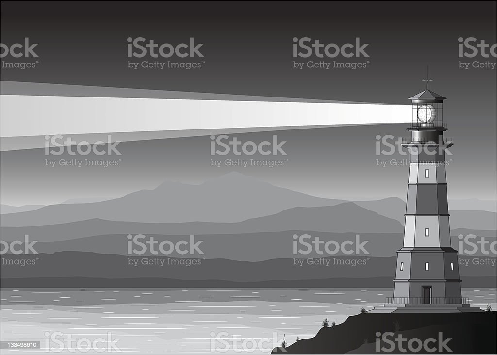 Night landscape with detailed lighthouse, mountains and sea royalty-free stock vector art