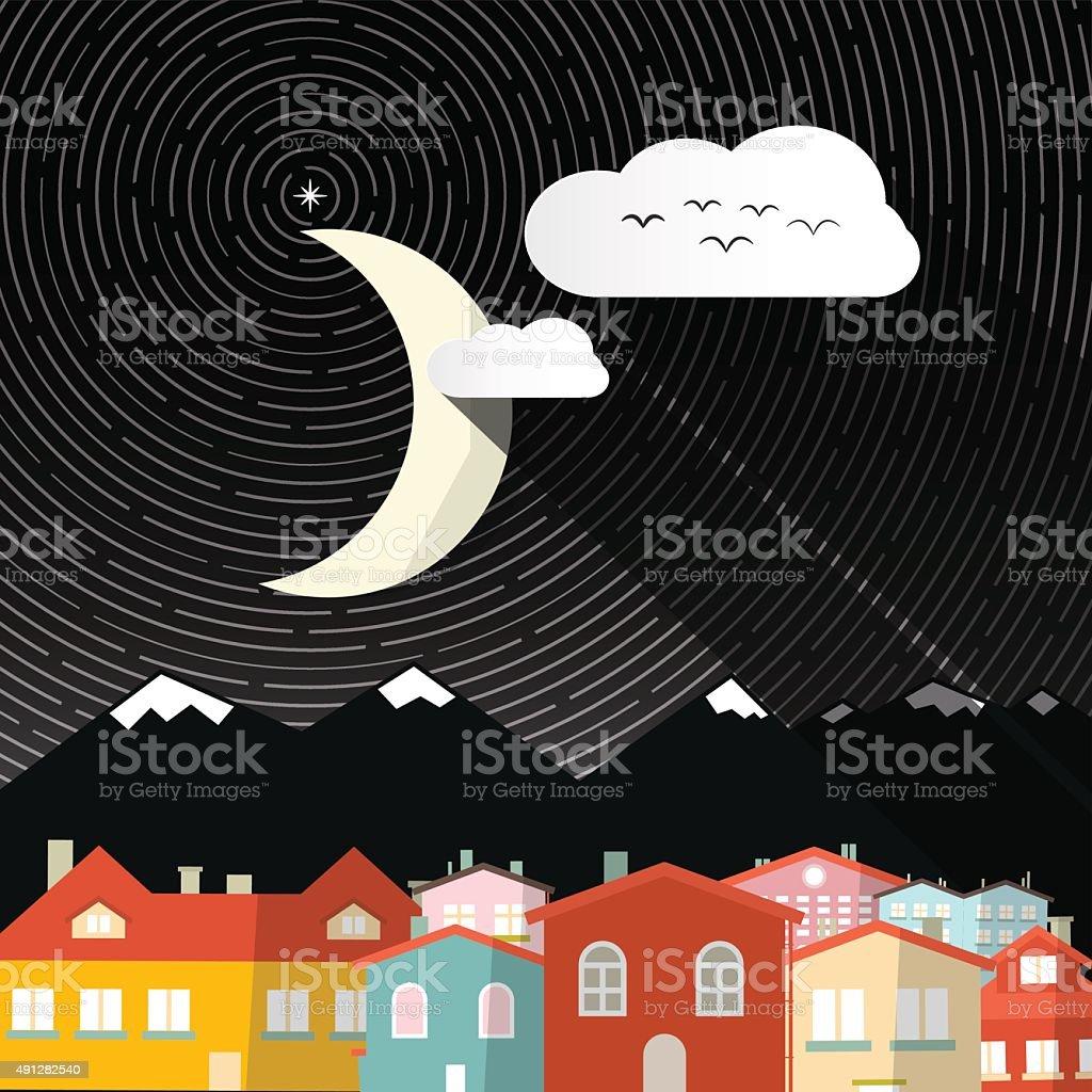 Night Landscape with Moon vector art illustration