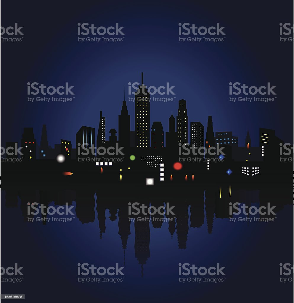 night lights and the city vector art illustration