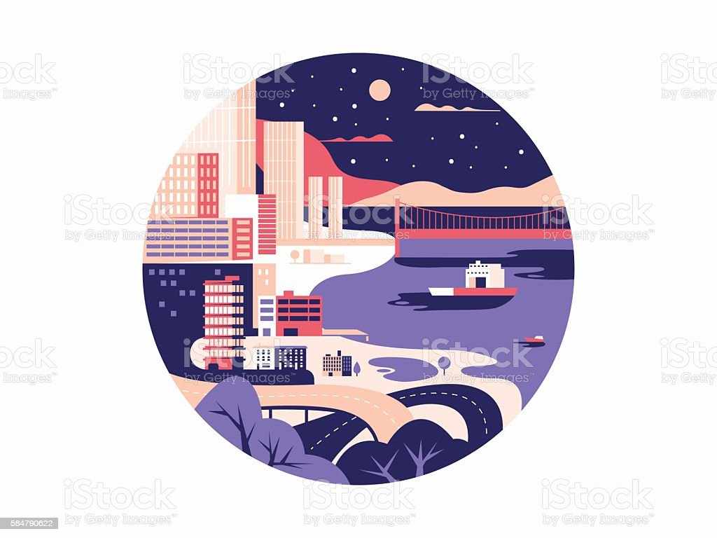 Night megapolis flat design vector art illustration