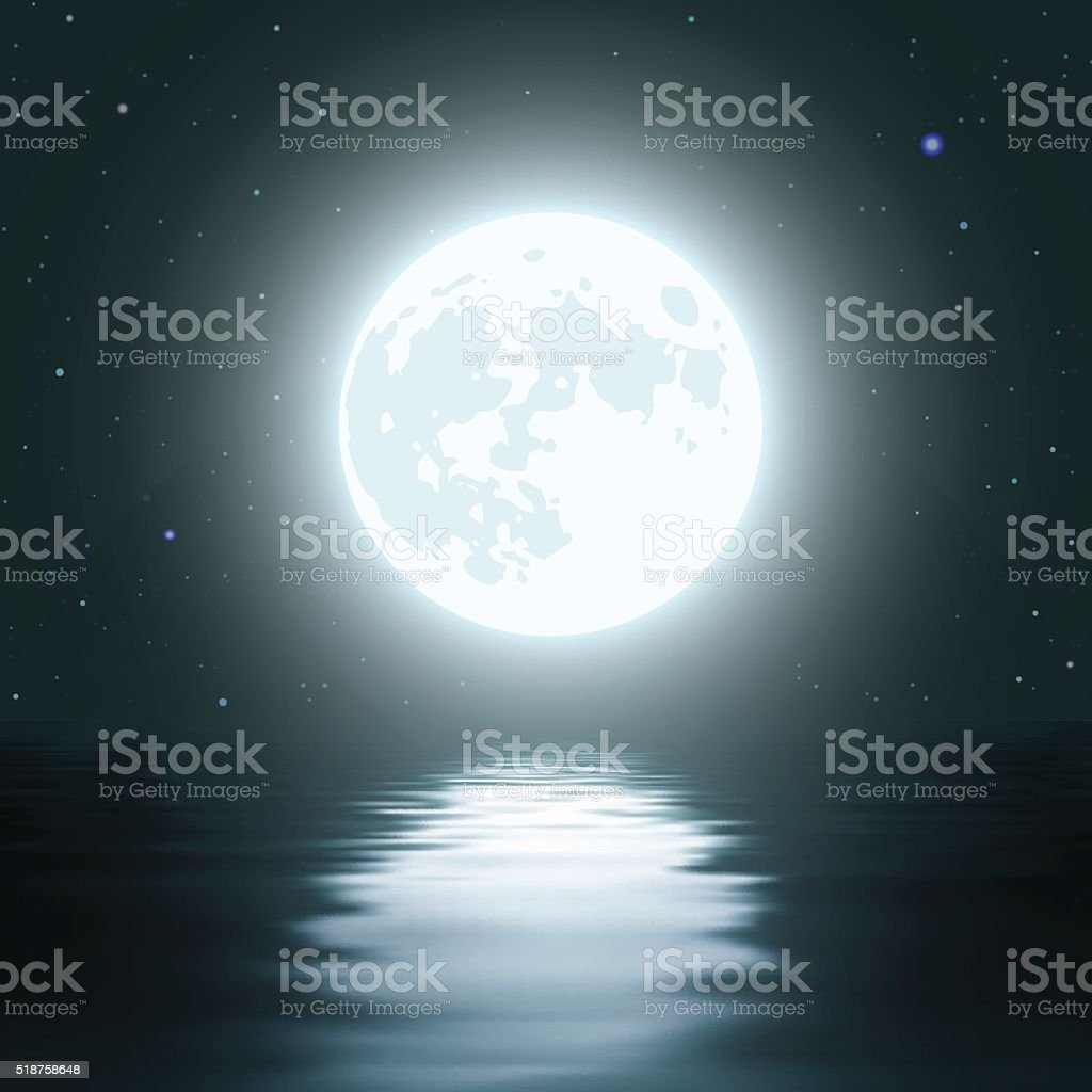 Night Moon Over the Water vector art illustration