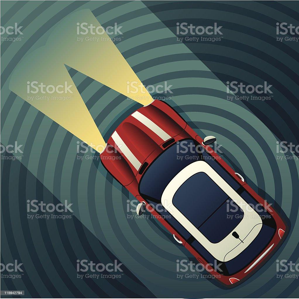 Night Motoring Mini Cooper vector art illustration