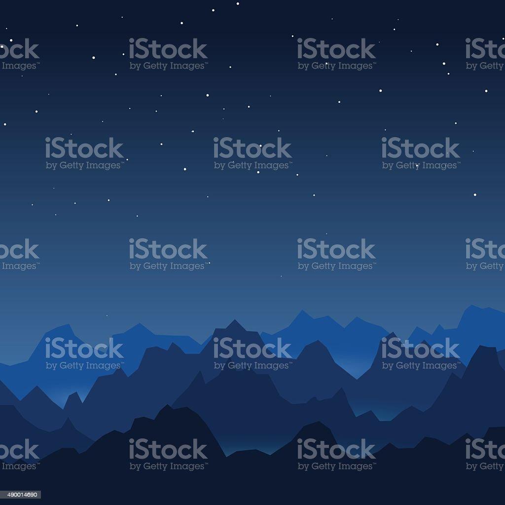 Night mountains vector art illustration