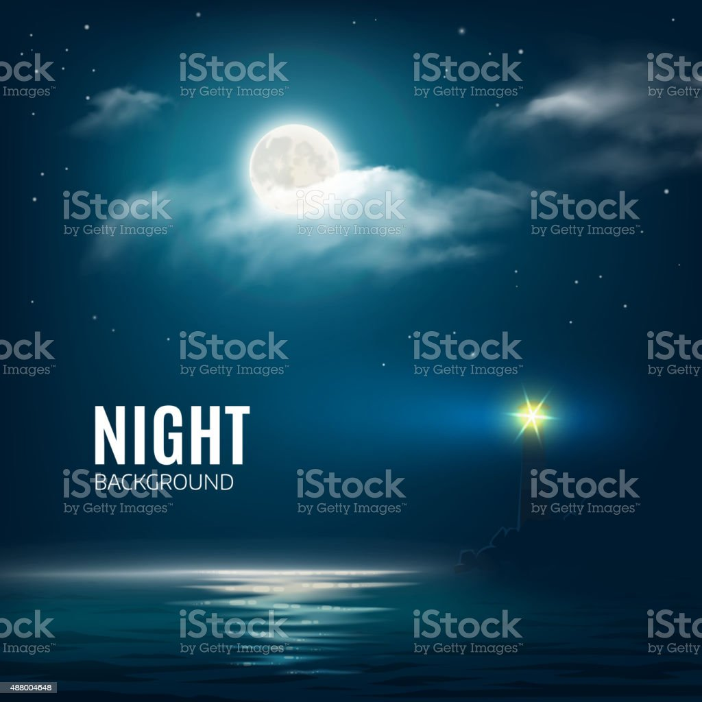 Night nature cloudy sky with stars, moon and sea vector art illustration