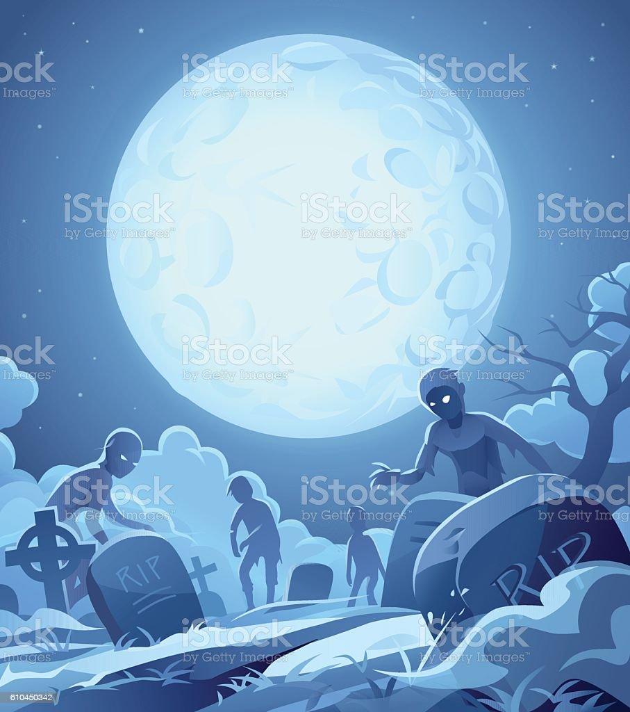 Night Of The Living Dead vector art illustration