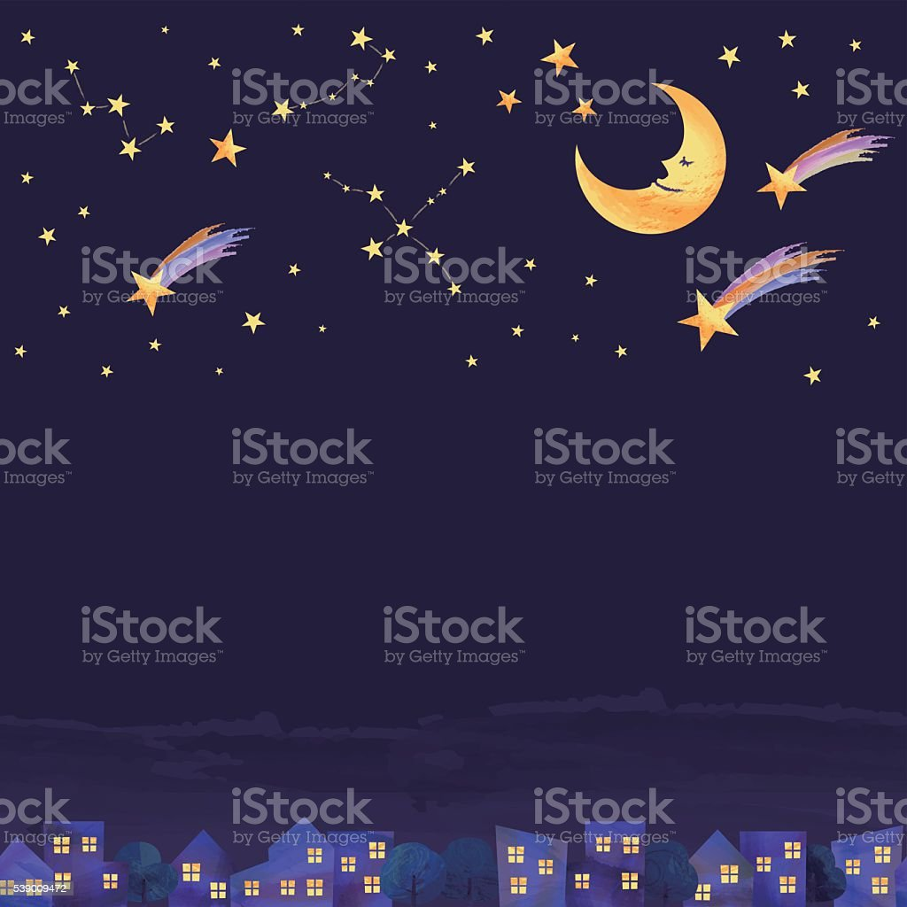 night on the town vector art illustration