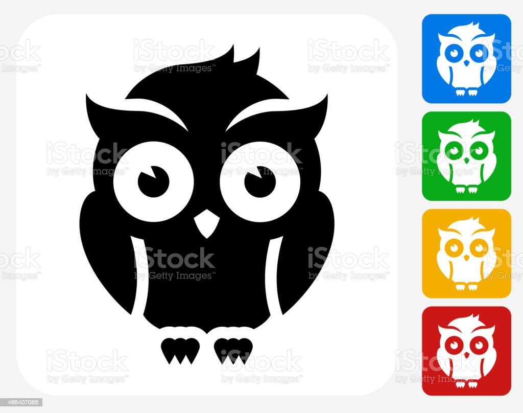 Night Owl Icon Flat Graphic Design vector art illustration
