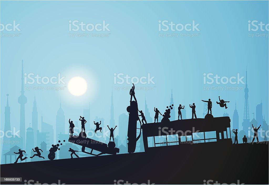 Night Riot royalty-free stock vector art