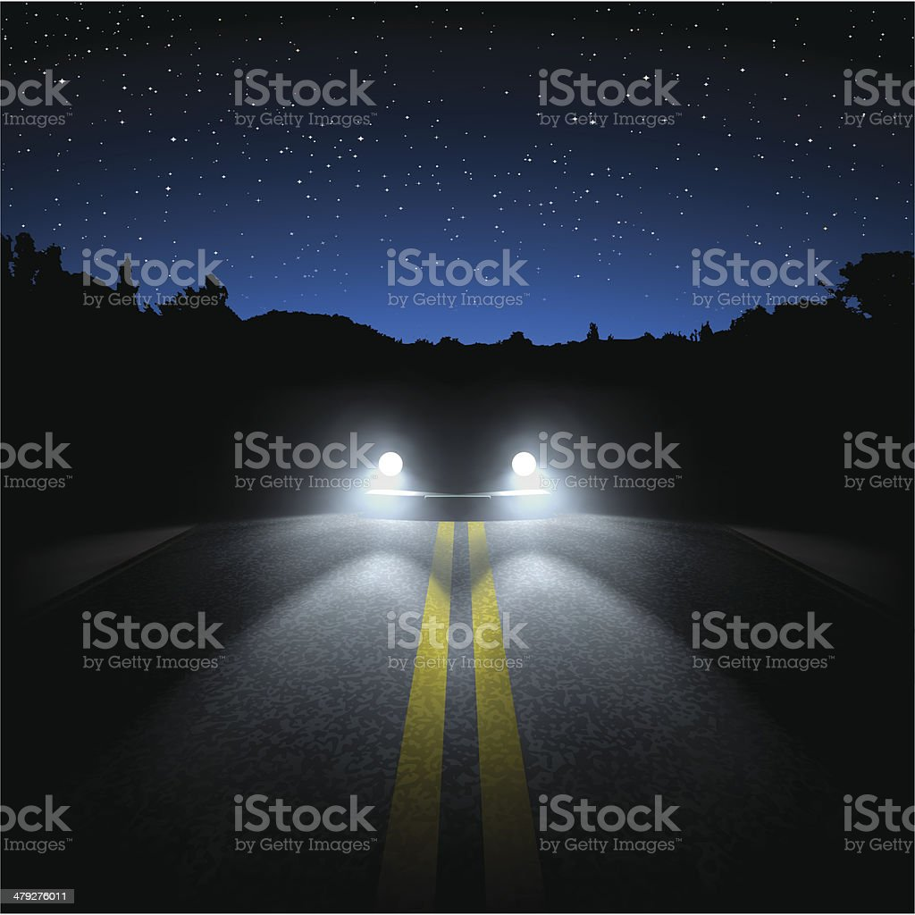 night road vector art illustration