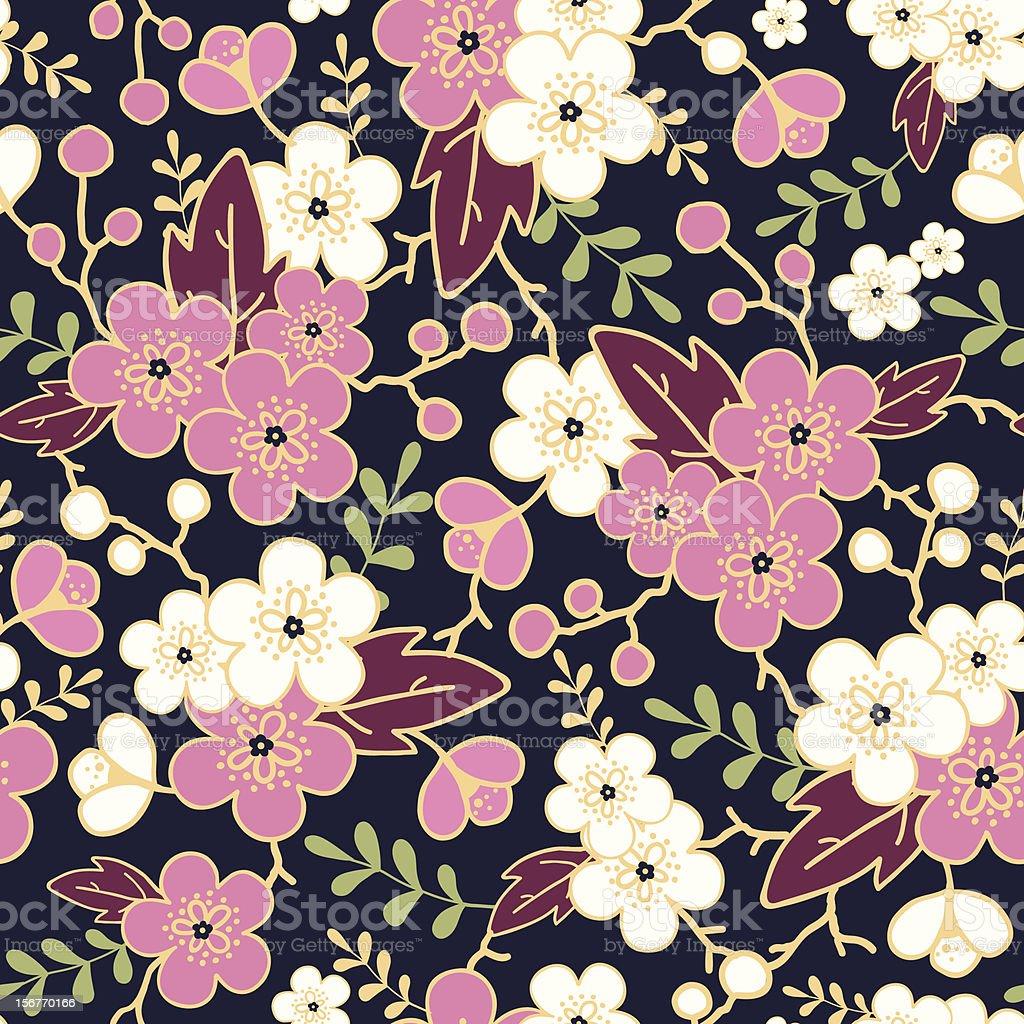 Night sakura garden seamless pattern royalty-free stock vector art