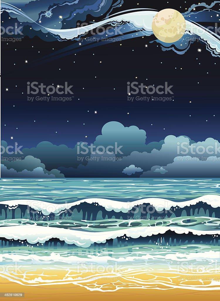 Night seascape. royalty-free stock vector art