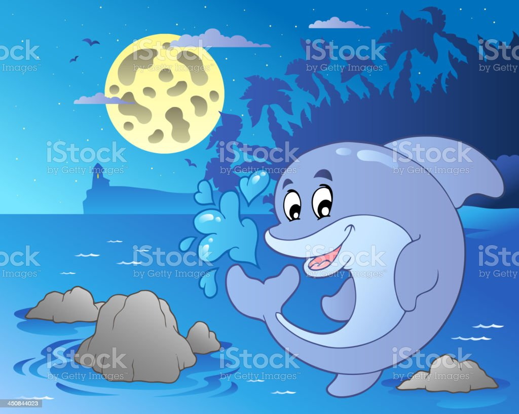 Night seascape with jumping dolphin royalty-free stock vector art