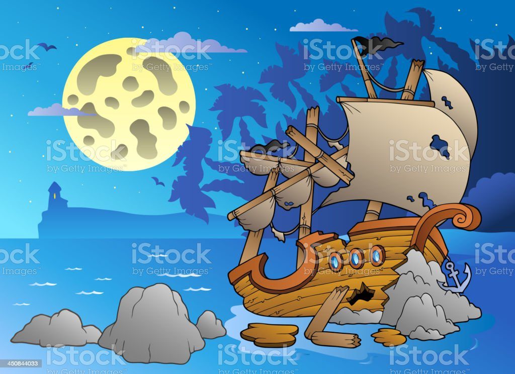 Night seascape with shipwreck vector art illustration