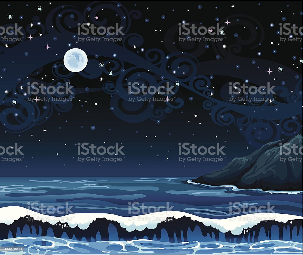 Night seascape with waves and full moon royalty-free stock vector art