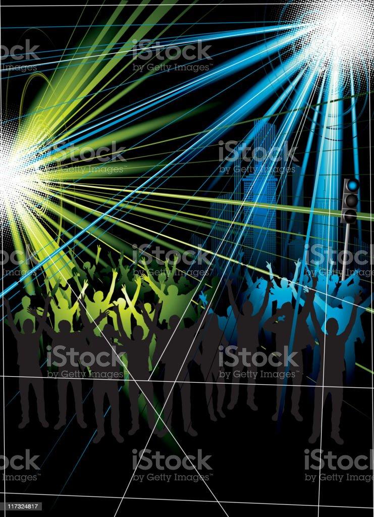Night show of beams royalty-free stock vector art