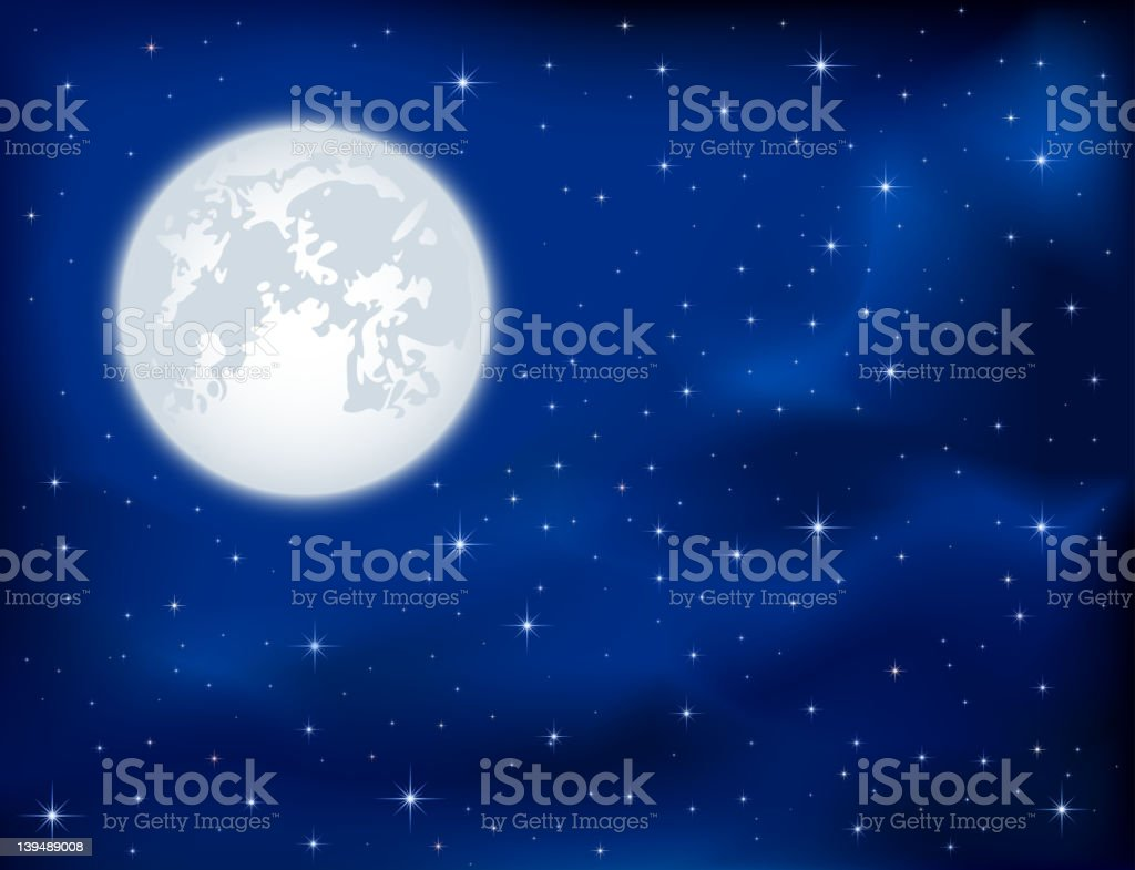 Night sky and Moon vector art illustration