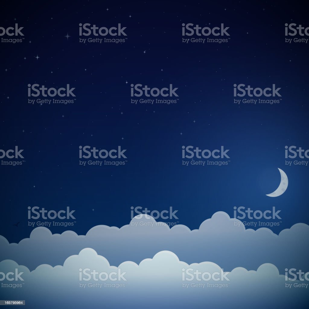 Night sky background vector art illustration