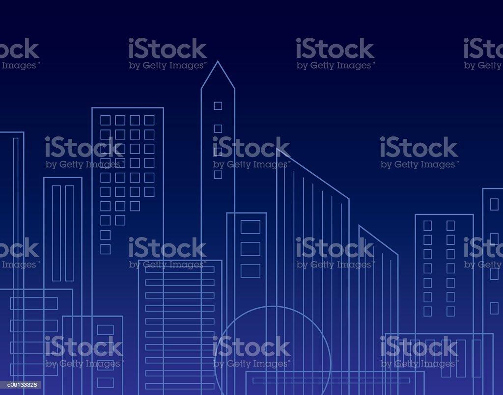 Night Sky line Background vector art illustration