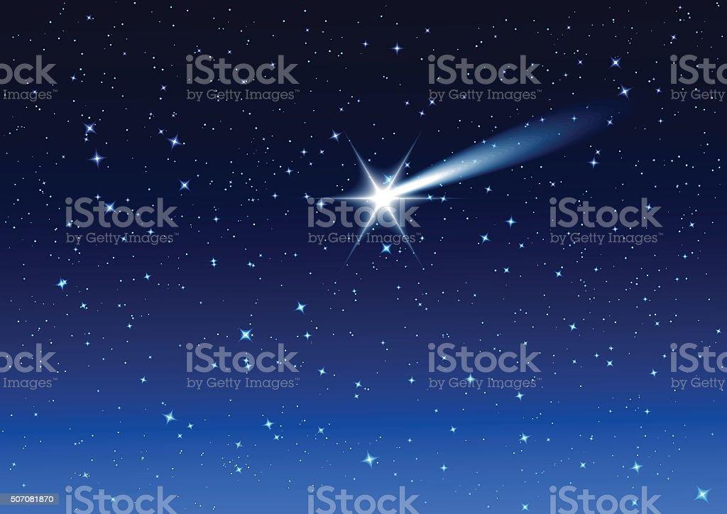Night sky. Star drops in night sky make wish vector art illustration